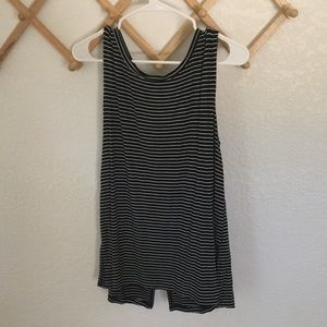Black and white striped flowy tank top